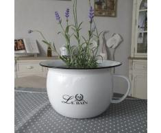 Ambiente Haus Übertopf Nachttopf / Töpfchen aus Emaille, (1 St.) weiß Pflanzgefäße Blumenvasen Wohnaccessoires
