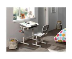 Vipack Kinder-Schreibtisch und Stuhl Comfortline ergonomisch höhenverstellbar, weiß, weiß/grau
