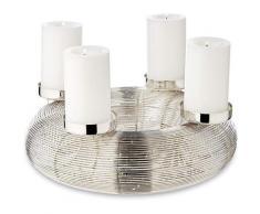 EDZARD Adventskranz Verona, (Ø 30 cm) Kerzenhalter für Stumpenkerzen, Weihnachtsdeko 4 Kerzen á Ø 6 cm, Kerzenkranz als Tischdeko mit Silber-Optik, vernickelt silberfarben Kunstkränze Kunstpflanzen Wohnaccessoires