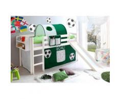 Ticaa Hochbett Manuel, mit Rolllattenrost und Textil-Set weiß Kinder Kinderbetten Kindermöbel