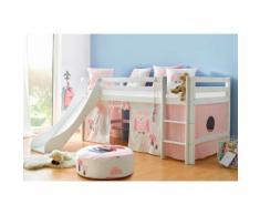 Hoppekids Hochbett, mit Matratze und Textil-Set rosa Kinder Kindermöbel Nachhaltige Möbel Hochbett