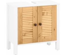 Home affaire Waschbeckenunterschrank Ayanna, aus Massivholz, Höhe 57 cm weiß Bad-Waschbecken-Unterschränke Badmöbel Schränke