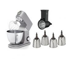 WMF Küchenmaschine Profi Plus und 4 auswechselbaren Cormargan Schneideinsätzen, 1000 Watt, Schüssel 5 Liter grau Multifunktionsküchenmaschinen Küchenmaschinen Haushaltsgeräte ohne Kochfunktion