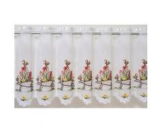 Scheibengardine, Schubkarre, Stickereien Plauen, Durchzuglöcher 1 Stück weiß Gardinen nach Aufhängung Vorhänge Gardine