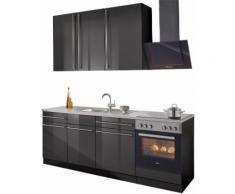 wiho Küchen Küchenzeile Chicago, ohne E-Geräte, Breite 220 cm grau Küchenzeilen Küchenblöcke Küchenmöbel Möbel sofort lieferbar