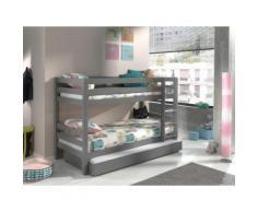 Vipack Etagenbett Pino, optional mit Bettschublade grau Kinder Kinderbetten Kindermöbel