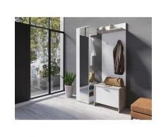 Homexperts Garderoben-Set Benno (Spar-Set 3-tlg), weiß, Beton / weiß
