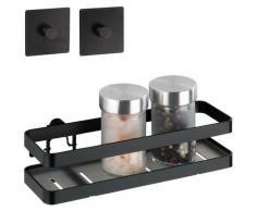 WENKO Gewürzregal Turbo-Loc Gala, aus pulverbeschichteter Flachstahl mit Kunststoffboden schwarz Gewürzständer Kochen Backen Haushaltswaren