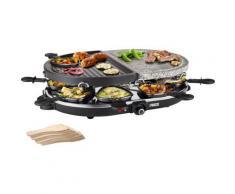 PRINCESS Raclette 8 Oval Stone & Grill Party - 162710, Raclettepfännchen, 1200 Watt schwarz Küchenkleingeräte Haushaltsgeräte