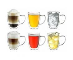 Creano Thermoglas, (Set, 6 tlg., 6er Set), mit Henkel, 250 ml, 6-teilig farblos Doppelwandige Gläser Glaswaren Haushaltswaren Thermoglas