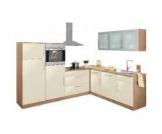 wiho Küchen Winkelküche Aachen mit E-Geräten Stellbreite 270 x 220 cm, gelb, vanillefarben