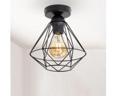 B.K.Licht Deckenleuchte, E27, LED Deckenlampe schwarz Metall Draht Vintage Industrielampe Retroleuchte E27 Käfig Deckenleuchten SOFORT LIEFERBARE Lampen Leuchten Deckenleuchte