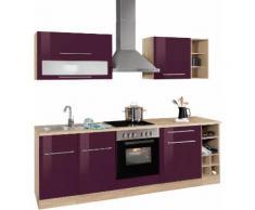 HELD MÖBEL Küchenzeile Eton mit E-Geräten Breite 240 cm, lila, aubergine Hochglanz/eichefarben