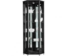 Eckvitrine Höhe 172 cm 4 Glasböden, schwarz, schwarz