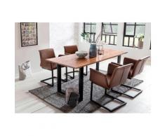 SalesFever Essgruppe, (Set, 5 St.), bestehend aus 4 modernen Armlehnstühlen und einem 180 cm breiten Baumkantentisch braun Essgruppen Tische Essgruppe