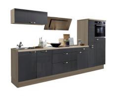 Optifit »Cara« Küchenzeile ohne E-Geräte, Breite 320 cm, grau, Anthrazit gl./Akazie