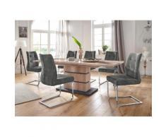Homexperts Essgruppe Bonnie Breite 160 cm mit 4 Stühlen, beige, wildeichefarben/anthrazit