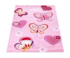 Paco Home Kinderteppich Diamond 642, rechteckig, 18 mm Höhe, Kurzflor, 3D-Kinder Schmetterling Herzen Design, Kinderzimmer rosa Kinder Kinderteppiche mit Motiv Teppiche