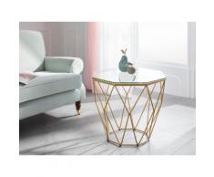 Guido Maria Kretschmer Home&Living Beistelltisch Caen, mit Glasplatte und Metall, Breite 60 cm goldfarben Beistelltische Tische