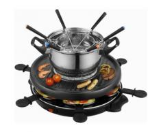 Team Kalorik Raclette und Fondue-Set TKG RAC 1010 FO, 6 Raclettepfännchen, 800 Watt schwarz Küchenkleingeräte Haushaltsgeräte