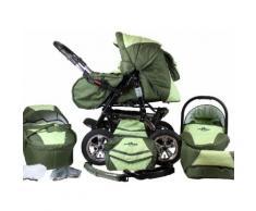 "bergsteiger Kombi-Kinderwagen ""Milano dark green 3in1"" (10-tlg), grün, Unisex, dunkelgrün-grau"