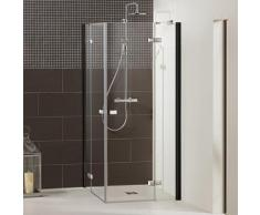 Dusbad Eckdusche Vital 1, Black Edition, Drehtür mit Festteil farblos Duschkabinen Duschen Bad Sanitär Bodenablauf