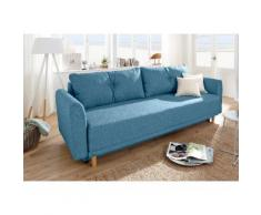 Home affaire Schlafsofa Scandic, inkl. 2 Zierkissen und Bettkasten, Knopfheftung in Rückenkissen blau Sofas Couches Möbel sofort lieferbar