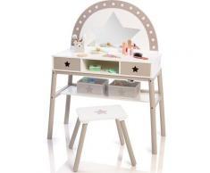 MUSTERKIND Schminktisch Malva, weiß/warmgrau, mit Stuhl weiß Kinder Kindertische Kindermöbel Tisch