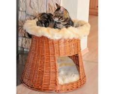 SILVIO design Tierkorb Weidenkorbturm braun Katzenkörbe -kissen Katze Tierbedarf