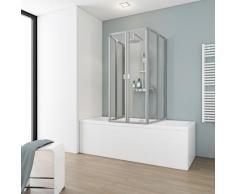 Schulte Badewannenaufsatz 6-tlg., nach Gebrauch flach an die Wand klappbar silberfarben Duschkabinen Duschen Bad Sanitär