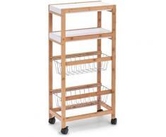 Zeller Present Küchenwagen Bamboo, weiß, naturfarben-weiß