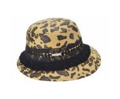 Seeberger Strohhut Glocke mit Leoparden Muster 54682-0 braun Damen Strohhüte Hüte Accessoires