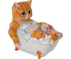 Home affaire Dekofigur Katze mit Maus in Badewanne, braun
