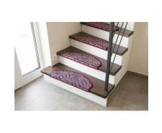 Andiamo Stufenmatte Amberg, halbrund, 9 mm Höhe, Hoch-Tief-Struktur, erhältlich als Set mit 2 Stück oder 15 lila Stufenmatten Teppiche