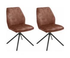 MCA furniture Esszimmerstuhl Ottawa, Vintage Veloursoptik mit Keder, Stuhl belastbar bis 120 Kg rot Esszimmerstühle Stühle Sitzbänke