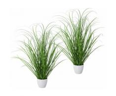 Creativ green Kunstgras Grasbusch, 2er Set, im dekorativen Kunststofftopf grün Kunstgräser Kunstpflanzen Wohnaccessoires