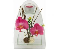 I.GE.A. Kunstpflanze Orchidee mit Teelichthalter 23/15 cm rosa Künstliche Zimmerpflanzen Kunstpflanzen Wohnaccessoires