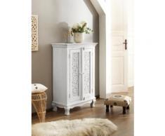Home affaire Kleiderschrank Rajat, aus schönem massivem Mangoholz, mit dekorativen Fräsungen, Breite 80 cm weiß Mehrzweckschränke Schränke