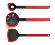 "WOLL Kochbesteck-Set ""cook it"" (3-tlg), rot, Neutral, schwarz-rot"