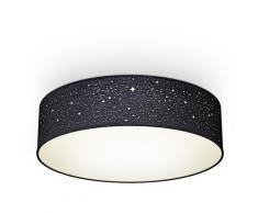 B.K.Licht Deckenleuchte, E27, 1 St., Textil-Sternenhimmel, Schwarz, Ø38cm, 2-flammig Stoffdeckenleuchte rund, Schlafzimmerlampe, Textilschirm, ohne Leuchtmittel schwarz Deckenleuchte Deckenleuchten Lampen Leuchten sofort lieferbar