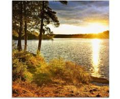 Artland Glasbild Sonnenuntergang über See Algonquin Park bunt Glasbilder Bilder Bilderrahmen Wohnaccessoires