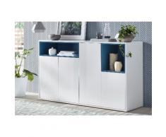 Tecnos Sideboard Colore, weiß, weiß Hochglanz,türkis