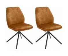MCA furniture Esszimmerstuhl Ottawa, Vintage Veloursoptik mit Keder, Stuhl belastbar bis 120 Kg gelb Esszimmerstühle Stühle Sitzbänke