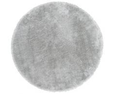 Fellteppich Lamm Fellimitat Andiamo rund Höhe 20 mm maschinell gewebt, grau, hellgrau