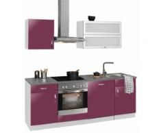 wiho Küchen Küchenzeile Amrum EEK C lila Küchenzeilen mit Geräten -blöcke Küchenmöbel Arbeitsmöbel-Sets