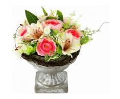Kunstpflanze Gesteck Ranunkel in Pokal, rosa, Damen, weiß/rosa