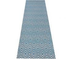 bougari Läufer Karo, rechteckig, 8 mm Höhe, Sisal-Optik, In- und Outdoorgeeignet blau Teppichläufer Bettumrandungen Teppiche