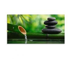 Artland Glasbild Bambusbrunnen und Zen-Stein, Zen, (1 St.) grün Glasbilder Bilder Bilderrahmen Wohnaccessoires