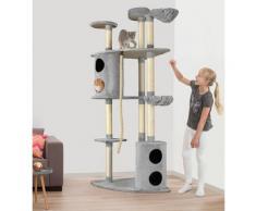 ABUKI Kratzbaum Honey, hoch, BxTxH: 76x76x215 cm grau Kratz- Kletterbäume Katze Tierbedarf