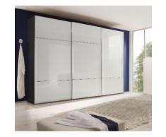 nolte Möbel Schwebetürenschrank Marcato 3, weiß, Front Weißglas,Korpus Graphit